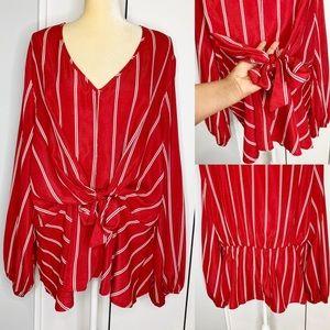 SHEIN Women's Striped Red & White Top Plus 3XL
